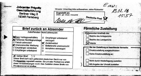 förml zustellung-13-01-16-JC-Pritzwalk