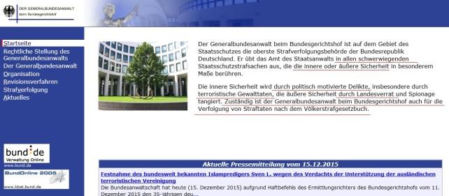 general bundesanwalt zuständigkeit webseite